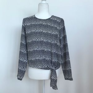 Talbots black and white blouse